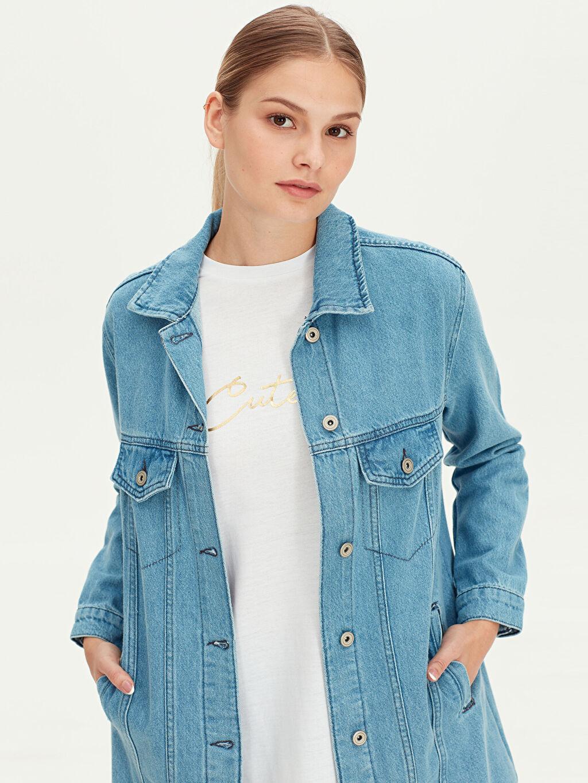 %100 Pamuk %100 Pamuk Jean Ceket Salaş Uzun Jean Ceket