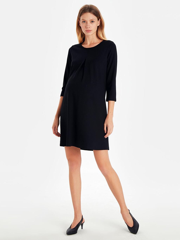 Siyah Düz Esnek Hamile Elbise 9W9542Z8 LC Waikiki