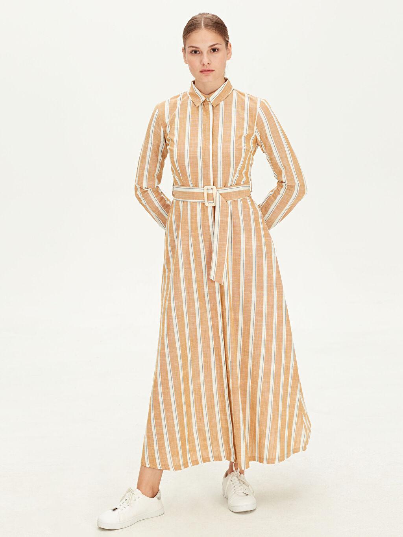 Sarı Kuşaklı Çizgili Gömlek Elbise 9W9562Z8 LC Waikiki