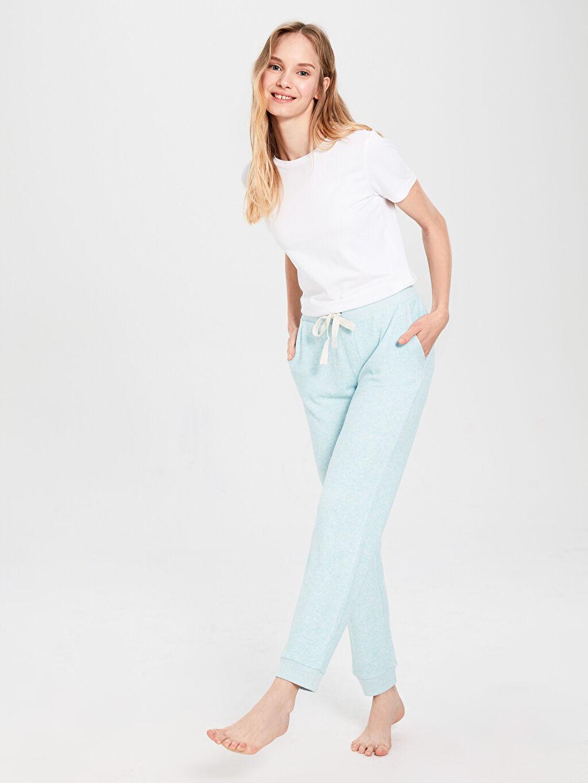 %15 Polyester %82 Viskoz %3 Elastan Düz Standart Pijama Alt Jogger Pijama Alt