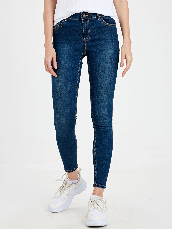 %85 Pamuk %13 Polyester %2 Elastan Normal Bel Dar Jean Standart Skinny Jean Pantolon