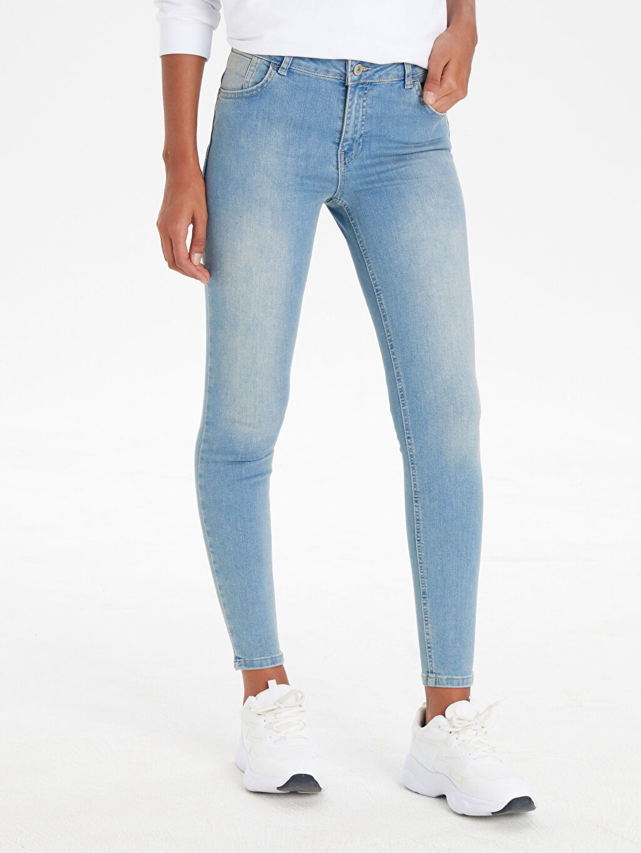%85 Pamuk %13 Polyester %2 Elastan Normal Bel Dar Jean Standart Pamuklu Push Up Skinny Jean Pantolon