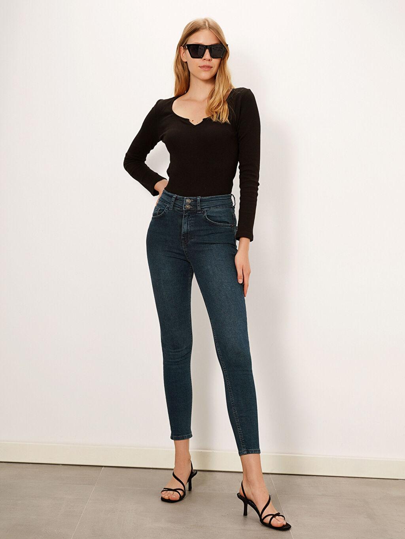 Lacivert Yüksek Bel Super Skinny Jean Pantolon 9WG716Z8 LC Waikiki