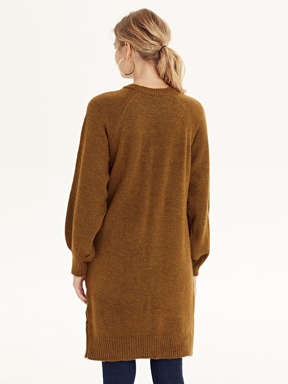 Kadın Kendinden Desenli Uzun Triko Tunik