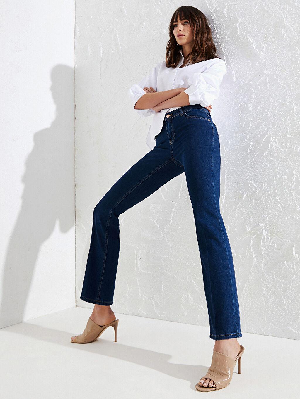 %86 Pamuk %12 Poliester %2 Elastane Standart Normal Bel Uzun Jean Çizme Paça Esnek Jean Pantolon