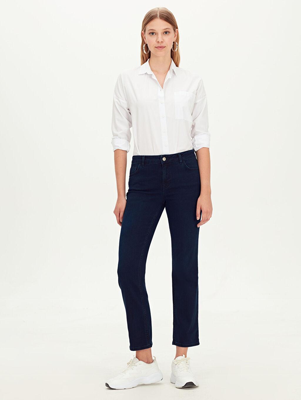 %86 Pamuk %12 Poliester %2 Elastane Standart Normal Bel Uzun Jean Düz Paça Jean Pantolon
