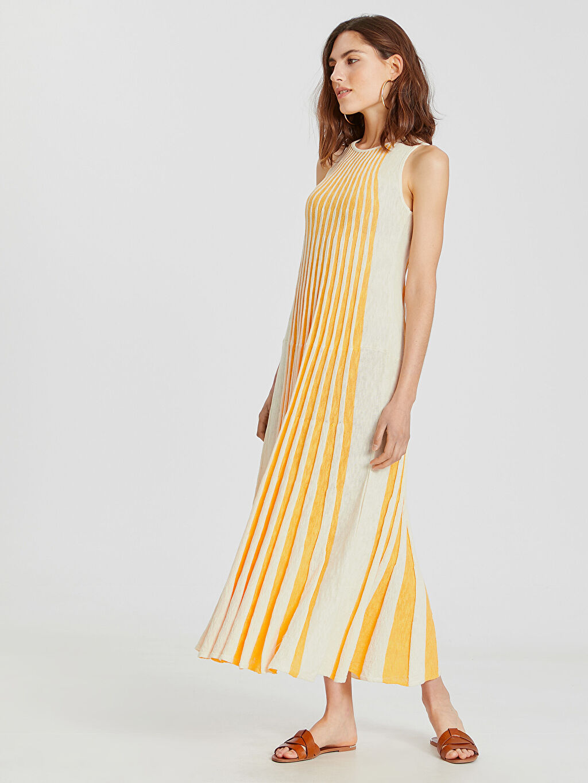 Ekru Çizgili Triko Uzun Elbise 9WG883Z8 LC Waikiki