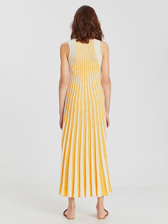 Kadın Çizgili Triko Uzun Elbise