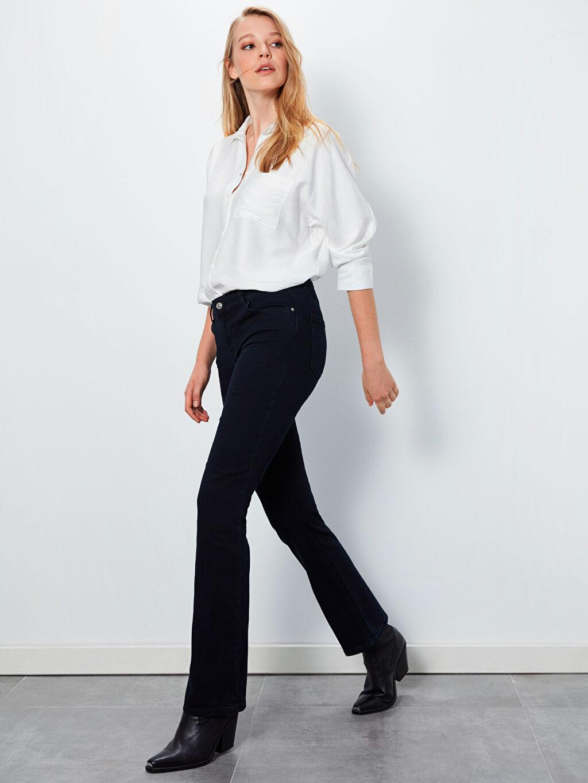 %86 Pamuk %12 Polyester %2 Elastan Normal Bel Uzun Çizme Paça Jean Çizme Paça Esnek Jean Pantolon