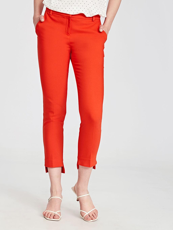 Kadın Paça Detaylı Slim Kumaş Pantolon