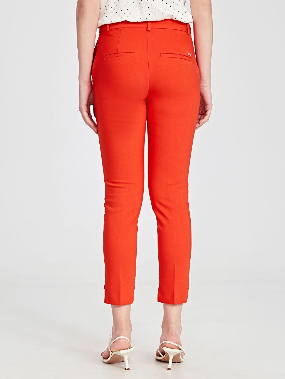 %54 Pamuk %42 Polyester %4 Elastan Paça Detaylı Slim Kumaş Pantolon