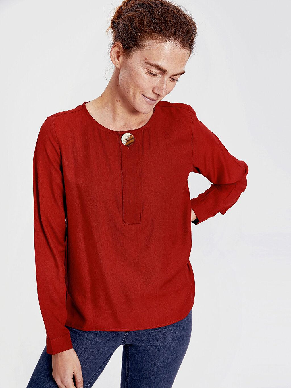 %100 Polyester Yarım Pat Bluzan Krep Standart Bluz Uzun Kol Düz Yaka Detaylı Krep Bluz