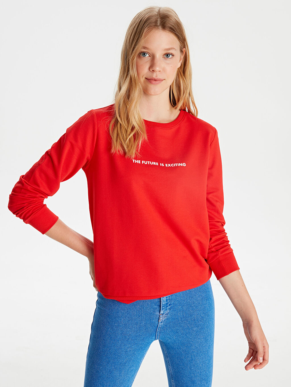Kırmızı Yazı Baskılı Sweatshirt 9WH815Z8 LC Waikiki
