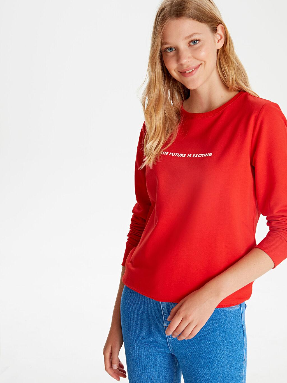 %71 Pamuk %29 Polyester Sweatshirt Standart Bisiklet Yaka Günlük Polar Standart Yazı Baskılı Sweatshirt