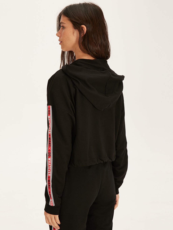 %70 Pamuk %30 Polyester Şerit Slogan Detaylı Kapüşonlu Sweatshirt