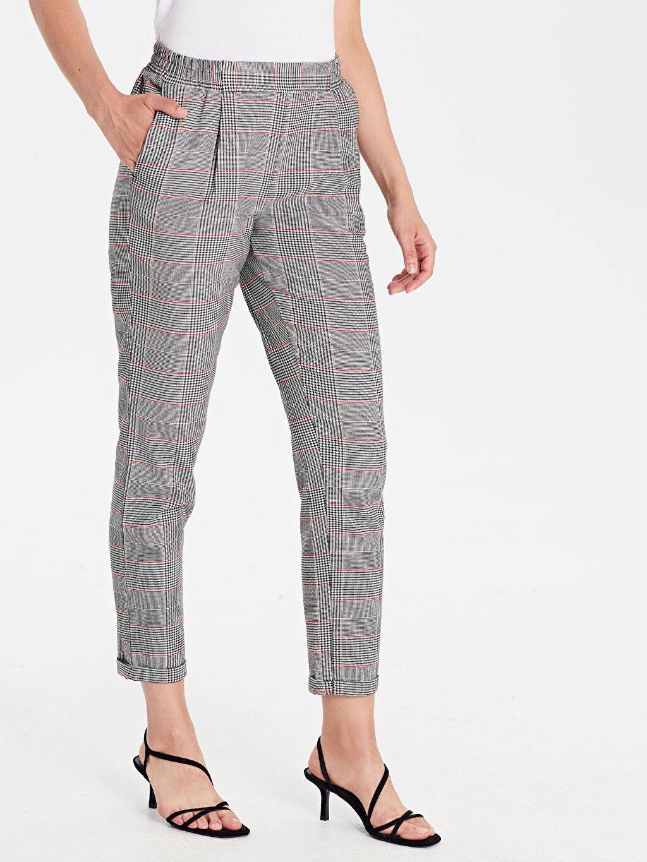 %65 Polyester %3 Elastan %32 Viskon Pantolon Bilek Boy Ekose Normal Bel Havuç Kesim Beli Lastikli Ekose Havuç Pantolon