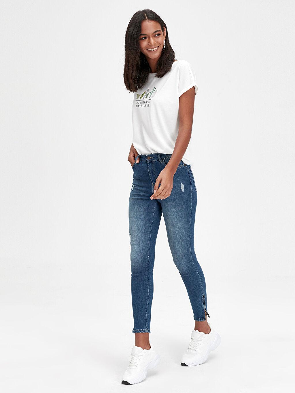 İndigo Bilek Boy Super Skinny Jean Pantolon 9WJ052Z8 LC Waikiki