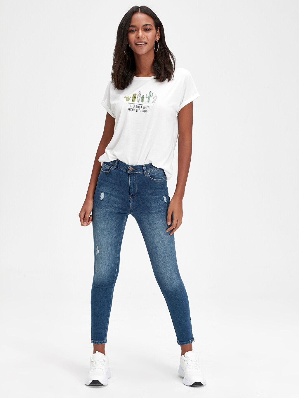 %84 Pamuk %14 Polyester %2 Elastan Bilek Boy Dar Jean Yüksek Bel Bilek Boy Super Skinny Jean Pantolon