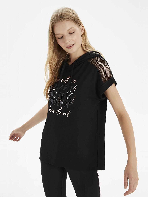 %59 Poliester %41 Vıscose Kapüşon Yaka Penye Standart Spor Tişört Yazı Baskılı Omuz Detaylı Kapüşonlu Sweatshirt