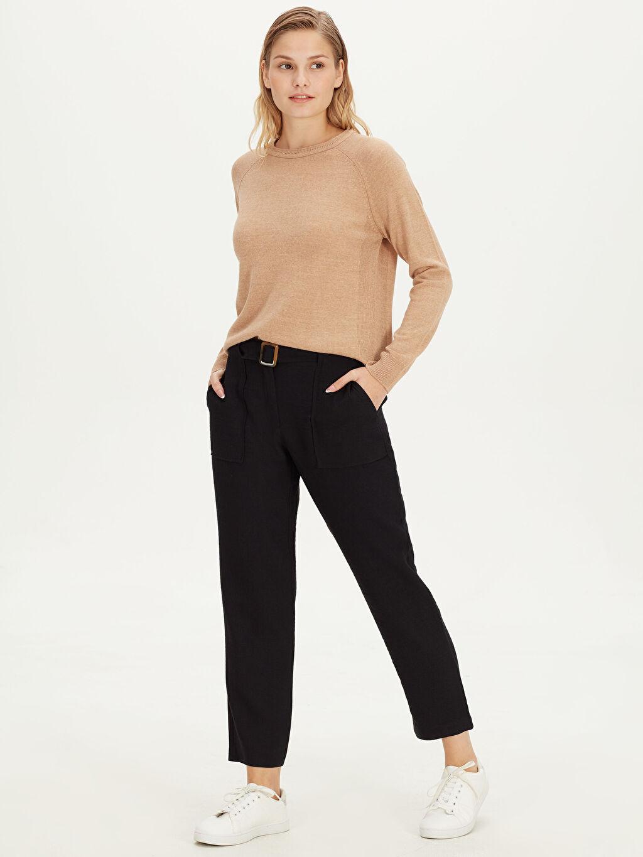 %13 Polyester %87 Viskoz Keten Görünümlü Düz Bilek Boy Normal Bel Havuç Kesim Pantolon Beli Kemerli Havuç Pantolon