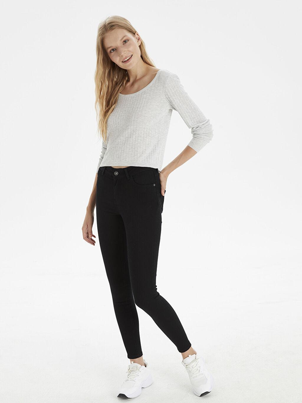 %84 Pamuk %14 Polyester %2 Elastan Normal Bel Uzun Dar Jean Skinny Jean Pantolon