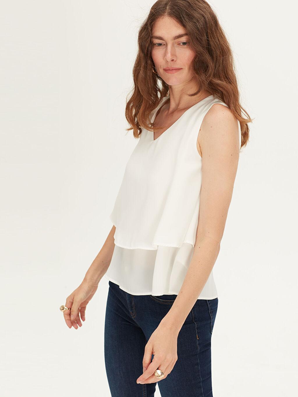 %100 Polyester Düz Standart Diğer Saten Standart V Yaka Bluz Kolsuz V Yaka Saten Bluz