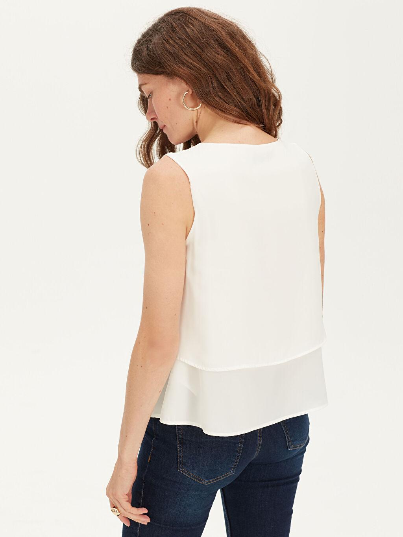 %100 Polyester V Yaka Saten Bluz