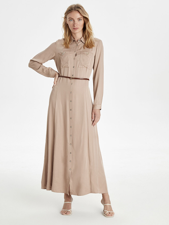 Bej Kemerli Uzun Gömlek Elbise 9WJ713Z8 LC Waikiki