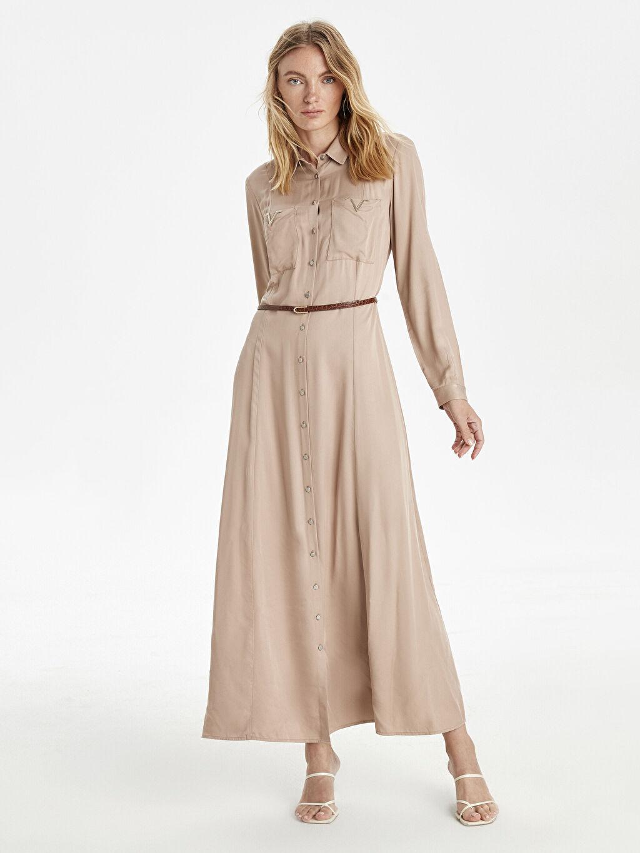 %100 Viskoz %100 Poliüretan Düz Gömlek Elbise Astarsız Uzun Kol Elbise Kemerli Uzun Gömlek Elbise