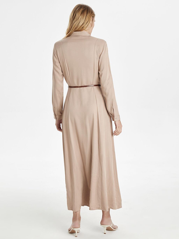 Kadın Kemerli Uzun Gömlek Elbise