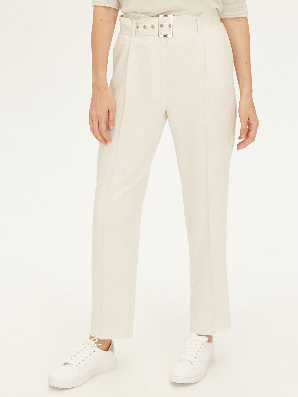 %7 Keten %93 Viskoz Keten Görünümlü Standart Bilek Boy Normal Bel Pantolon Düz Kemerli Oxford Pantolon