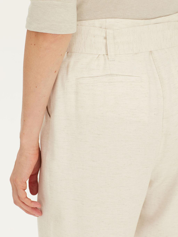 %7 Keten %93 Viskoz Kemerli Oxford Pantolon