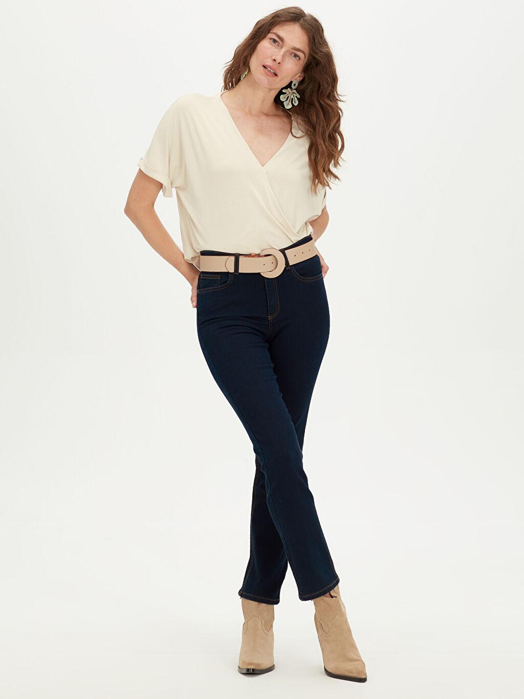 %98 Pamuk %2 Elastan Yüksek Bel Standart Skinny Jean Yüksek Bel Skinny Jean Pantolon