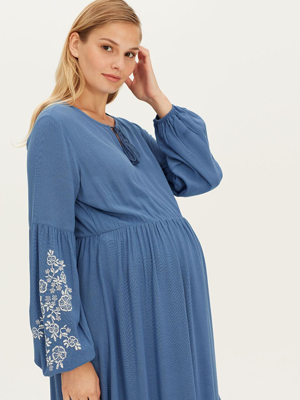 Kadın Kolları İşlemeli Viskon Uzun Hamile Elbise
