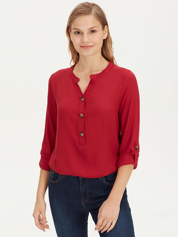 %100 Viskoz Yarım Pat Bluzan Bluz Uzun Kol Düz Krep Standart Düğmeli Viskon Bluz