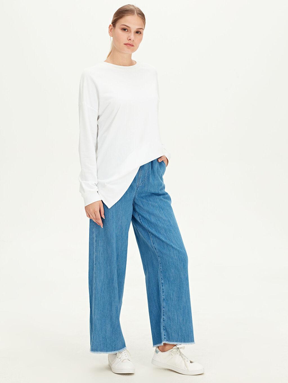 %100 Pamuk %100 Pamuk Bol Normal Bel Jean Beli Lastikli Geniş Paça Jean Pantolon