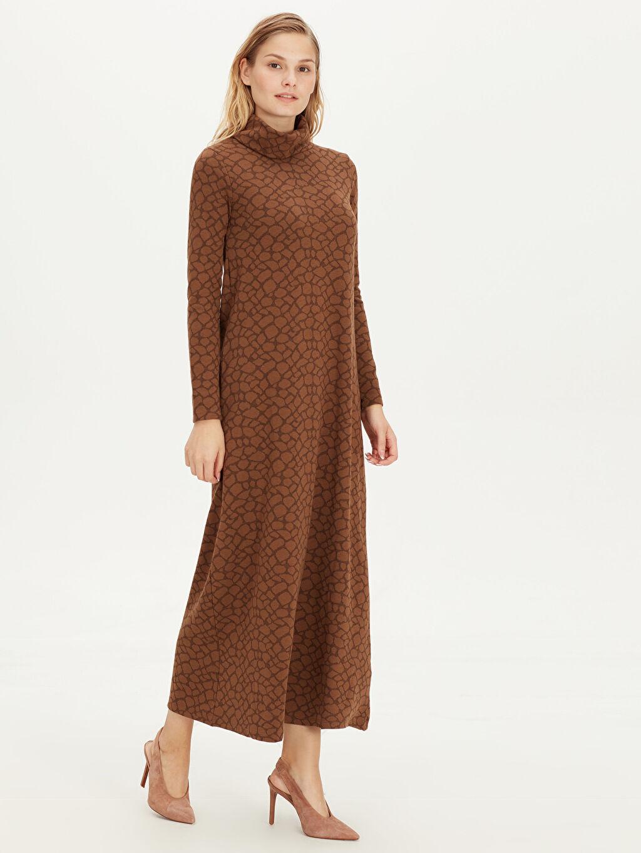 %70 Polyester %28 Viskon %2 Elastan Elbise Ofis/Klasik Standart Baskılı Astarsız Uzun Uzun Kol Ribana A Kesim Şal Yaka Uzun Esnek Elbise