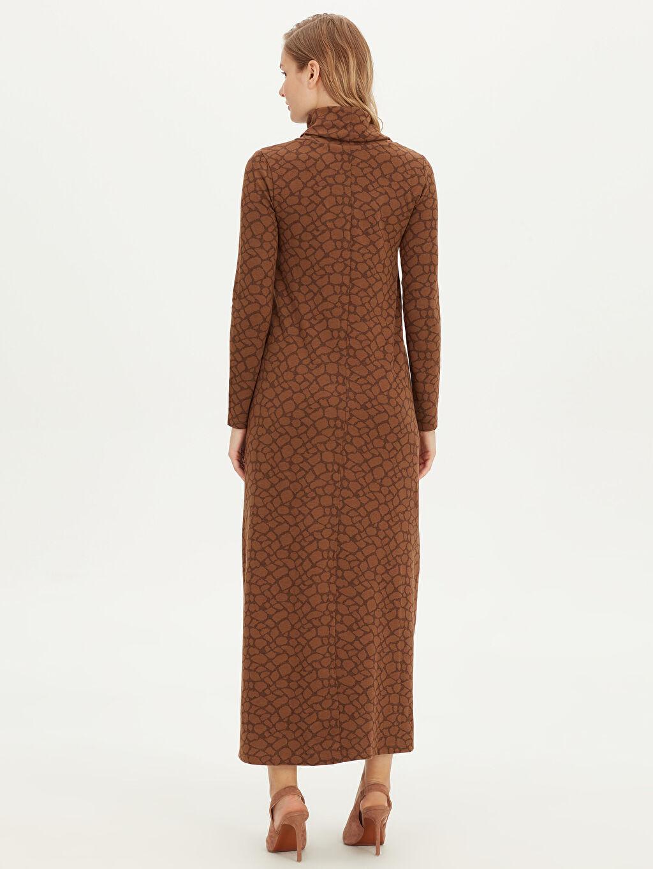 Kadın Şal Yaka Uzun Esnek Elbise