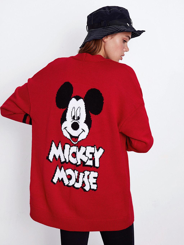 Kadın Sırtı Mickey Mouse Desenli Triko Hırka