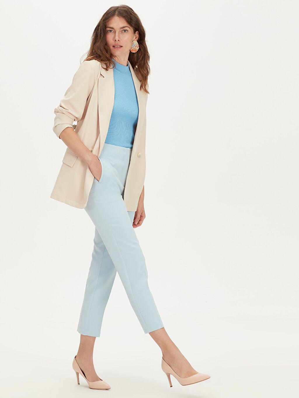 %87 Polyester %13 Elastan Pantolon Düz Bilek Boy Yüksek Bel Standart Yüksek Bel Esnek Pantolon
