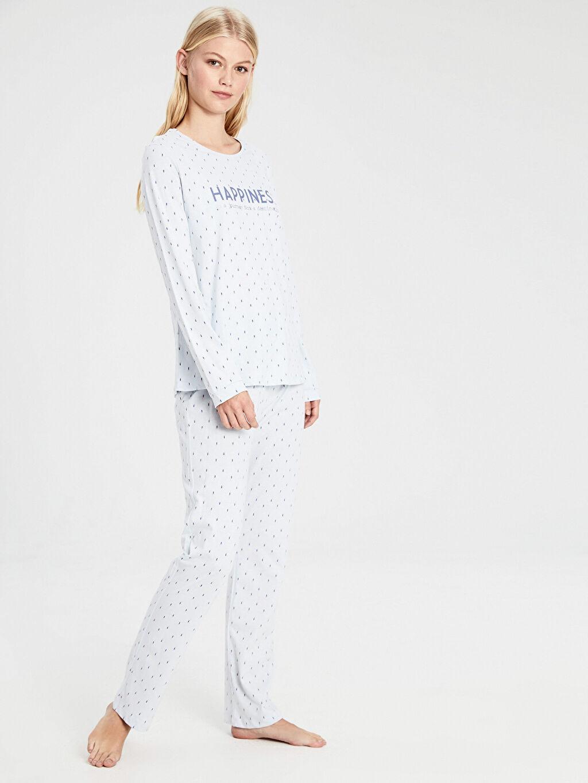 Mavi Yazı Baskılı Pamuklu Pijama Takımı 9WL831Z8 LC Waikiki
