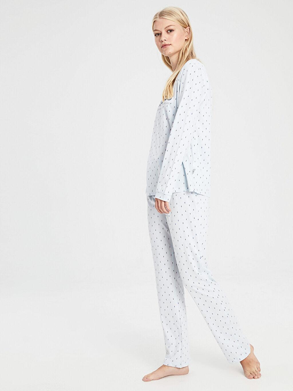 %100 Pamuk %100 Pamuk Standart Baskılı Pijama Takım Penye Yazı Baskılı Pamuklu Pijama Takımı