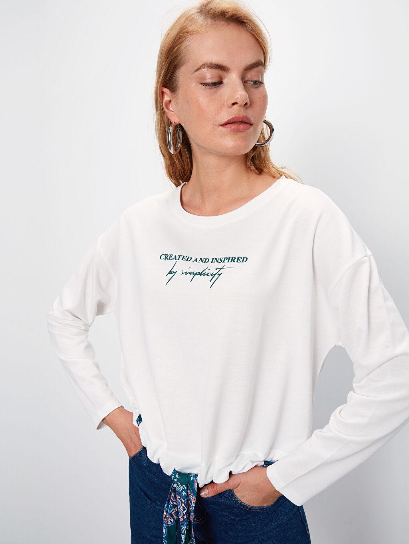 Beyaz Beli Bağlama Detaylı Yazı Baskılı Sweatshirt 9WL873Z8 LC Waikiki