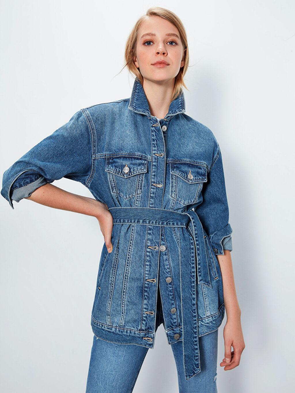%100 Pamuk %100 Pamuk Jean Ceket Standart Uzun Kuşaklı Jean Ceket