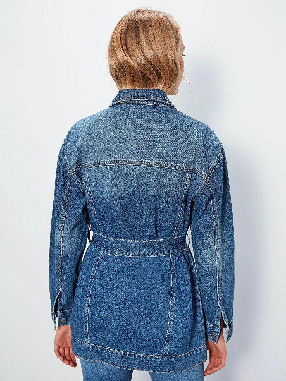 %100 Pamuk Kuşaklı Jean Ceket