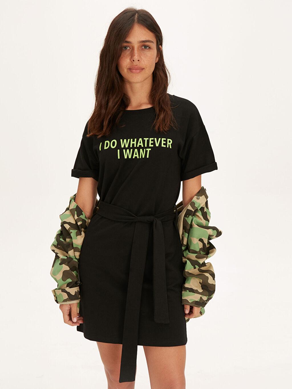 %100 Pamuk %100 Pamuk Baskılı Tişört Elbise Günlük Kısa Kol Elbise İnce Sweatshirt Kumaşı Kısa Neon Yazı Baskılı Pamuklu Elbise