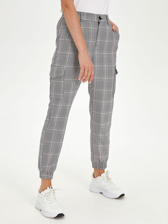 Kadın Ekoseli Kargo Pantolon