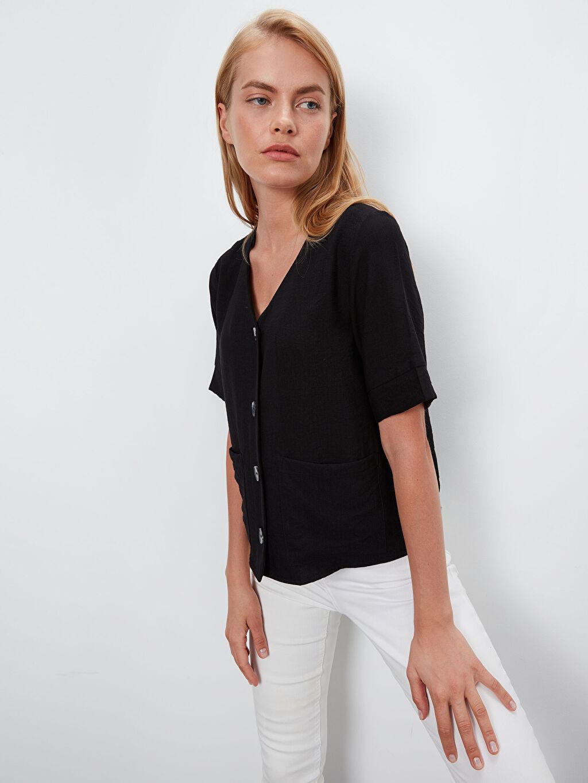 %13 Poliamid %87 Viskoz Düz Standart V Yaka Bluz Uzun Kol Düz V Yaka Viskon Bluz