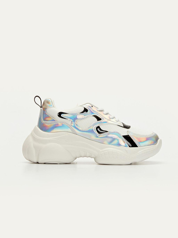 Beyaz Kadın Kalın Taban Hologramlı Spor Ayakkabı 9WM795Z8 LC Waikiki