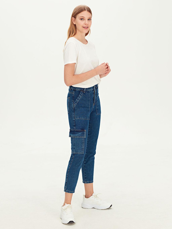 %100 Pamuk %100 Pamuk Yüksek Bel Standart Jean Standart Mom Jean Pantolon